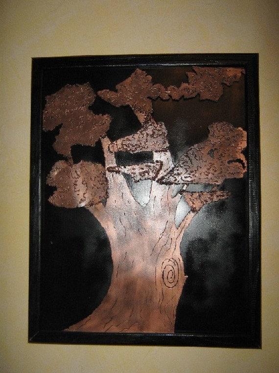Black Copper Tree of Life Framed Wall Art