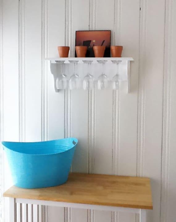 Wine Glass Stemware Shelf  from Reclaimed Wood holds 10 glasses