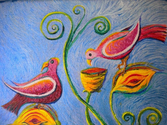 Fantastic Birds acrylic painting 8.75 x 12 quirky and philosophical