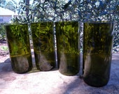 repurposed, recycled wine bottle tumblers or glasses tall highball size item 1064