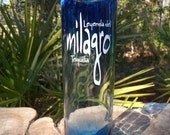 eco friendly, recycled glass milagro tequila bottle vase item 1087