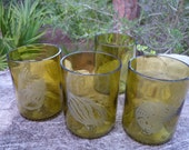 recycled, eco friendly wine bottle sandblasted tumblers item 107