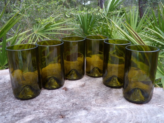 recycled, eco friendly wone bottle tumblers or glasses set of 6 item 1104