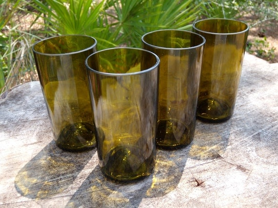 recycled wine bottle tumblers or glasses set of 4 item 117