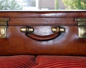 W Insall & Sons Leather Suitcase Circa 1900.