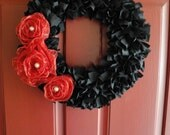 Derby Wreath - Black Wreath with Red Ribbon Roses