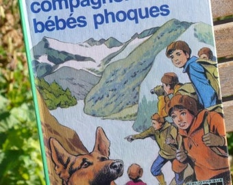Scrapbooking Supplies, Vintage paper punches, French Retro Children's Book, 1974 snow tale, mountains adventure , Back to school book
