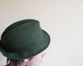 Green Fedora Trilby, Hat band, forest color, France autumn, fall, Old cascette, Vintage headwear, Unisex Trilby, Felt green Hat