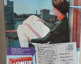 Vintage magazine, advertisements, mid century, paper ephemera, mixed media art, 1963,  fashion, knitting, sewing, French vintage