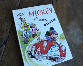 1974 Children's book, Disney France, Mickey Mouse Story,  Vintage Car story, French Reader, Boys Christmas gift, Mickey in French