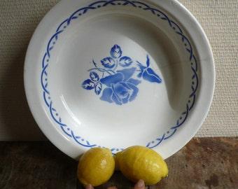 Digoin Antique Serving Bowl, Ceramic Dish, french soup bowl, salad bowl, kitchenalia, france brocante, Antique Platter, Blue and white plate