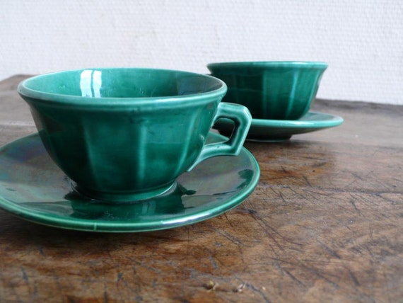 Vintage coffee cups and saucers, green, espresso, Luneville,  tea, hot chocolate, french,   French  housewares