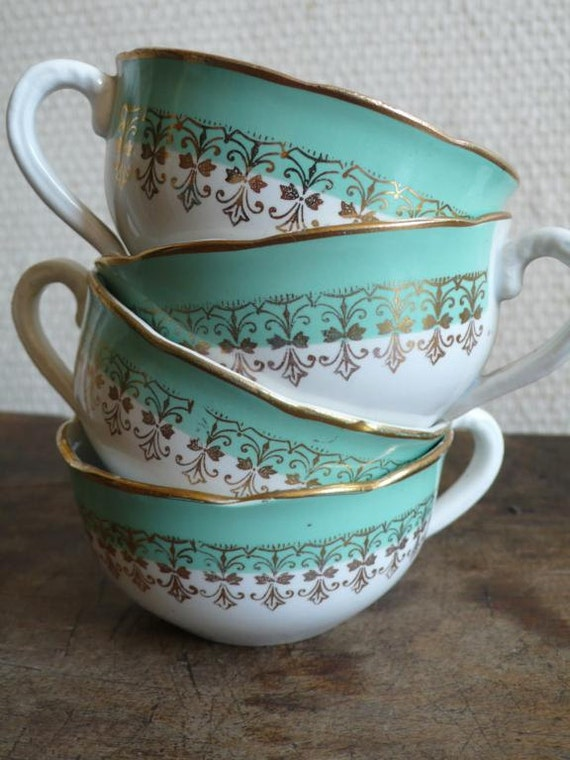 Antique cups, French, white and green, coffee, tea, gold,  hot chocolate, french, Digoin, sarreguemines, white, French vintage