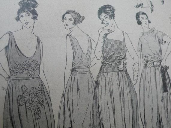 Vintage art deco magazine, MODE pratique,1921, vintage advertisements, paper ephemera, antique, fashion, art deco, twenties,black and white,