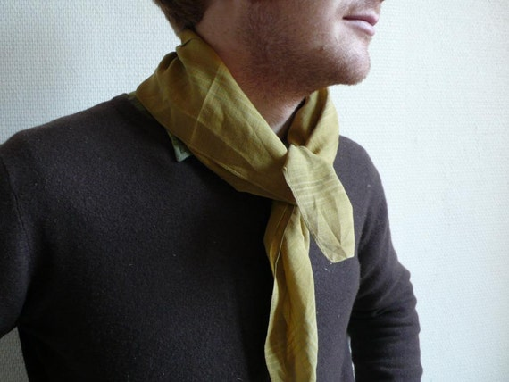 Vintage scarf,  fashion, unisex, mustard ,autumn, clothing, cotton, French vintage accessories by ancienesthetique on Etsy