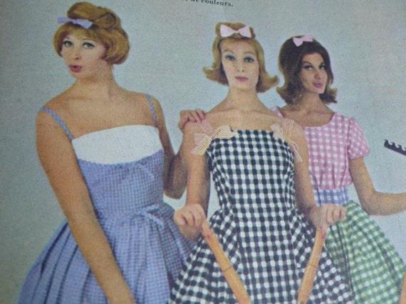 French Vintage magazine, advertisements, paper ephemera, mixed media art, sixties, 1960,  fashion, knitting, sewing, French vintage