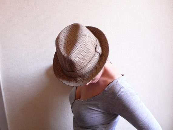 Vintage hat, trilby , Fedora, brown, tweed, check, plaid,   french cascette, french vintage accessories by ancienesthetique