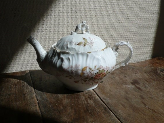 vintage coffee pot, teapot, flowers, butterfly,  limoges, vintage house accessories by ancienesthetique