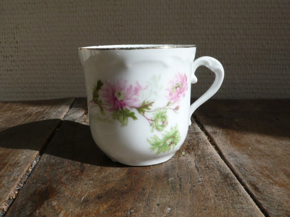 French Vintage coffee cup, espresso, porcelain, tea, hot chocolate, french, flowers, pink, green, white,