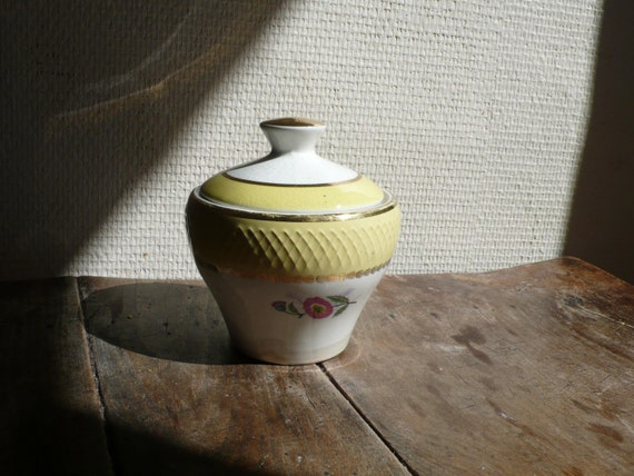 RESERVED FOR EP:Vintage ceramic sugar pot, antique, 20s, 1923, gold, yellow, white,  French vintage housewares by ancienesthetique on etsy