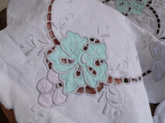 RESERVED FOR SANDRA: Welsh Vintage Handwork, Linen Table Napkins, floral embroidery, 1930s handmade, embroidered table decoration