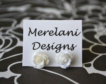 White Roses . Studs . Earrings . Rose Studs Collection