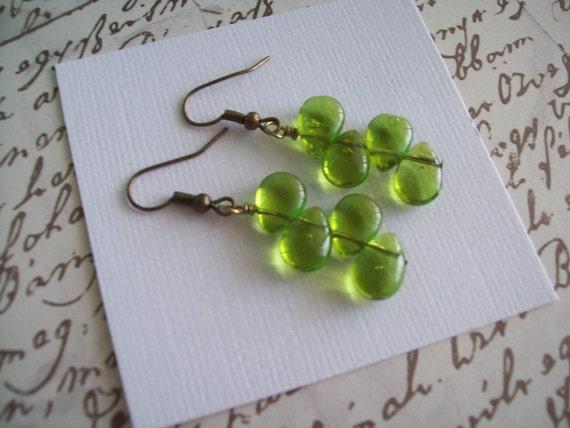 Peridot Glass Teardrops . Earrings