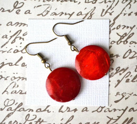 Red Mother of Pearl Rounds . Earrings . IMPERFECT CLEARANCE SALE