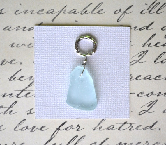 Pale Blue Sea Glass . Silver Hammered Hoop . Pendant . One of a Kind