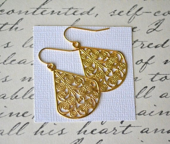 Gold Filigree Teardrops . Earrings . Adele Collection