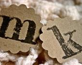 Set of 20 Monogramed Christmas Gift Labels