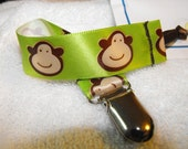 Soother/Pacifier Clip - Green Monkeys