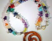 Reserved for Lisa - Chakra Necklace, Gemstone with Wooden Spiral Pendant