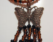 Antiqued Copper Butterly Beaded Pendant and Necklace