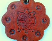 Turtle Hand Stamped and Dyed Leather Key Ring Native American Inspired