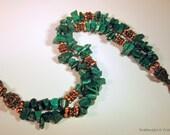 Double Strand Malachite and Copper Bracelet