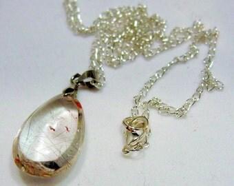 Rutiliated Phantom Quartz Pendant and Silver Chain Necklace