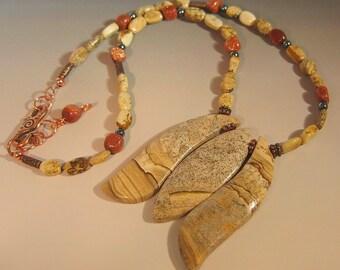 Picture Jasper Triple Stone Pendant and Necklace