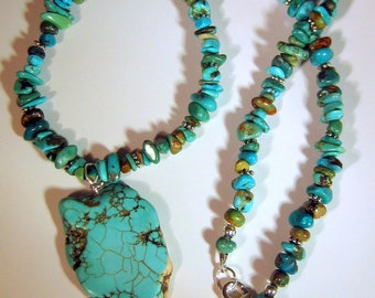 Natural Turquoise Necklace With Pendant, Native American Style
