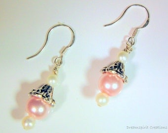 Earrings, Pink Pearl and Tibetan Silver Drop