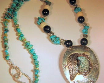 Turquoise Necklace with Silver Concho Pendant, Kingman Turquoise, Native style