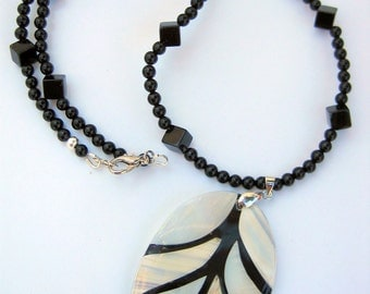 Onyx Necklace with Inlaid Mother of Pearl Pendant