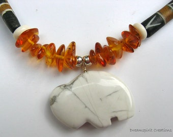 Buffalo Totem Pendant and Amber and Bone Necklace Native American Style