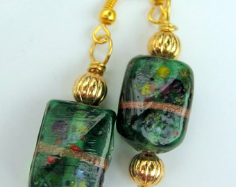 Earrings, Lampwork Glass in Forest Green and Gold