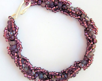 Beaded Bracelet in Czech Glass Grape Tones
