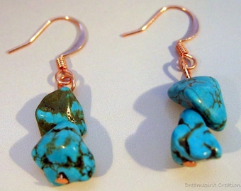 Earrings, Genuine Turquoise Nugget