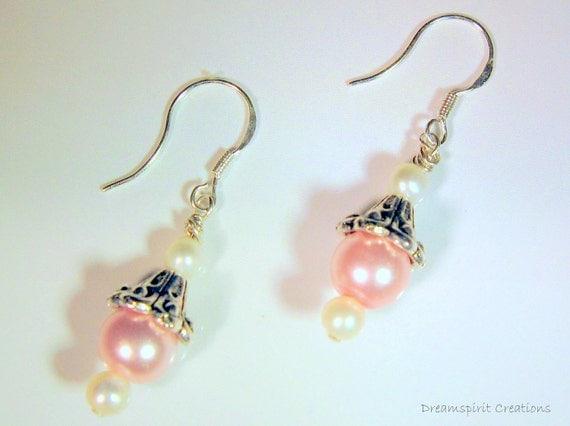 Pink Pearl and Tibetan Silver Drop Earrings