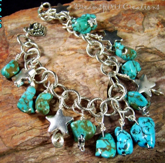 Turquoise Nugget Silver Charm Bracelet