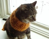Cat or Dog Sweater Hand Knit Brown and Gold Cable Wool Blend Size Medium