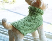 Dog Sweater Hand Knit Apple Green Small Wool